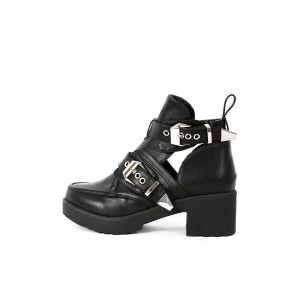 Harley-01 Buckle Cut Out Ankle Boots | MakeMeChic.com