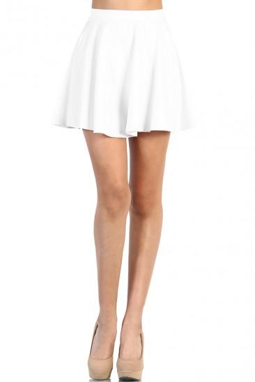LoveMelrose.com From Harry & Molly | Leather Look Skater Skirt - White
