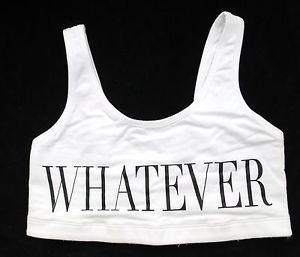 "Victoria's Secret Pink Yoga Bralette Sport Bra Top White ""Whatever""Sz S | eBay"