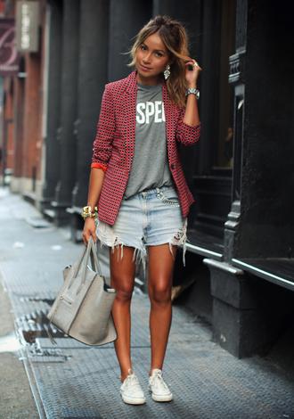 sincerely jules jewels jacket t-shirt shorts shoes bag red rouge fashion model black veste pretty