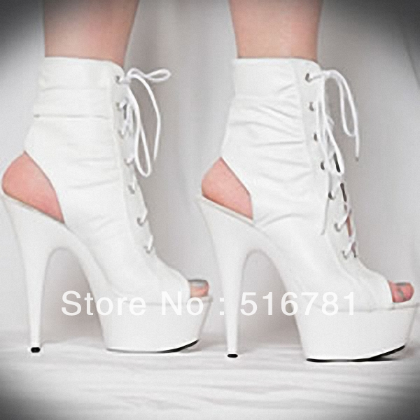 spring summer women's boots 15cm sexy shoes peep toes cool boots fashion 6 inch soft leather boots ladies high heel short boots-in Boots from Shoes on Aliexpress.com