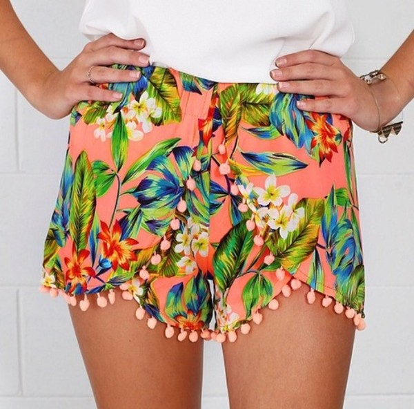 shorts floral pants summer short flowers cute cute shorts fashion style skirt? skirt light white tropical neon tropical jewels dotted shorts tumblr leaves orange orange shorts flowered shorts colorful colorful shorts pink hawaiian pom pom shorts hipster beach jacket print bright fluo peach jeans clothes tassel bikini tropical print shorts leaf print hawaiian