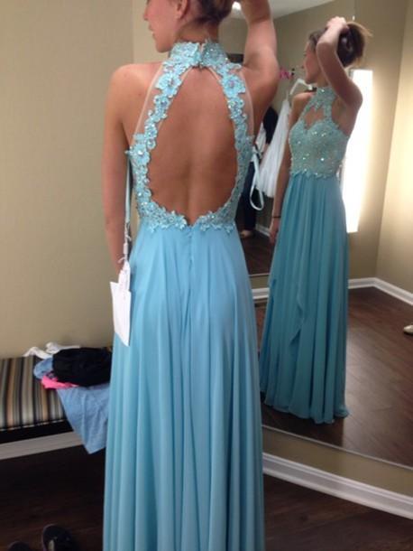 dress prom prom dress long dress sequins blue dress backless halter neck