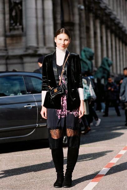 vanessa jackman blogger blazer black jacket knee high boots floral dress winter outfits jacket dress shoes