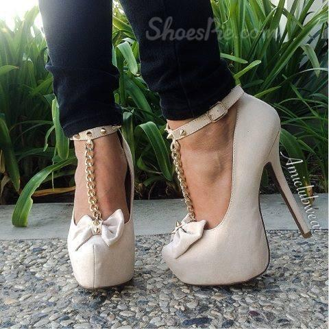 New Arrival Elegant Wthie Glaring Bowtie Ankle Strap Women High Heel Shoes