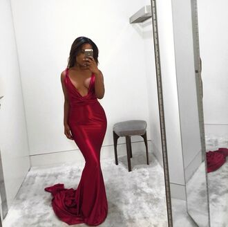 dress red prom gown train satin silk formal party regal wedding deep low neck burgundy dress plunge v neck red dress red prom dress long dress sexy v neck dress