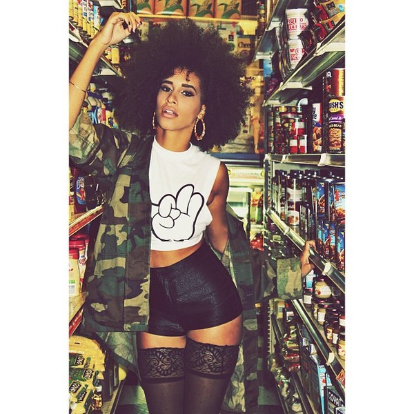 jacket army colored underwear shorts shirt top curly hair natural hair african american camouflage black socks