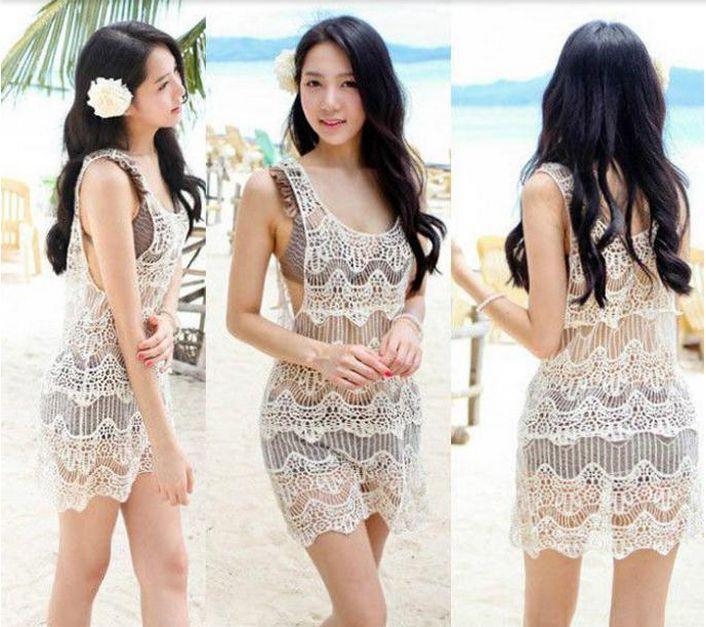 Women Lace Crochet Sleeveless Swimwear Bikini Cover Up Beach Dress Vintage Beige | eBay