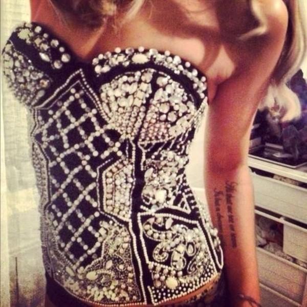 tank top bustier top corset top shirt black glitter t-shirt pearl glamour underwear corset diamonds blouse sparkle sparkly top black top