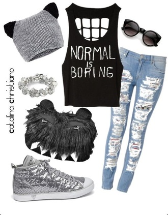 hat monster grey beanie grey teeth fluffy ears jeans pants top sunglasses shirt tank top shoes cat ears