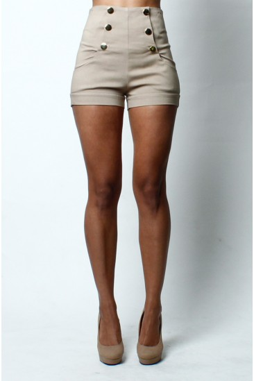 OMG High waist front button shorts -beige- form Love Melrose - SHORTS - BOTTOMS