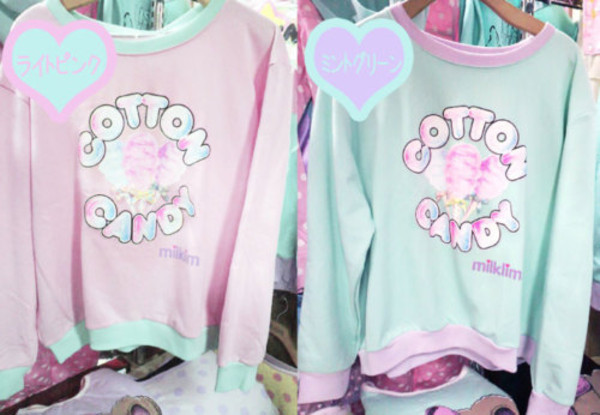 sweater cotton candy kawaii gyaru ulzzang pink light blue cute sweaters japan