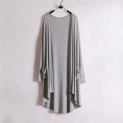 Long Slim Knitted Irregular Hem Cardigan - NextModal Fashion