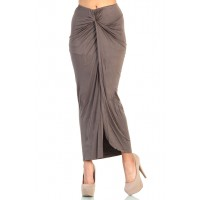 LoveMelrose.com From Harry & Molly | Knot Front Maxi Skirt with Slit Detail- Cappuccino