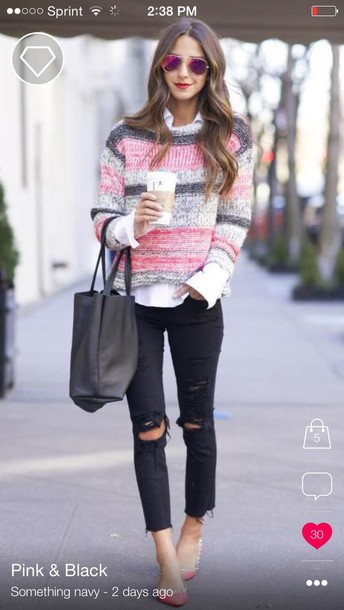 sweater pink sweater black sweater multicolor multicolor sweater