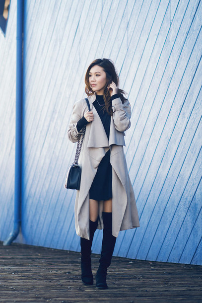 tsangtastic blogger trench coat knee high boots sweater top jewels shoes bag
