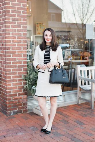 thecollegeprepster blogger jacket t-shirt skirt tweed jacket ballet flats handbag striped top