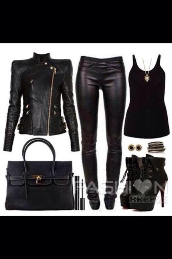 jacket biker chic outfit black black sexy birkin pants