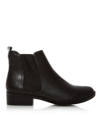 Black Low Block Heel Chelsea Boots
