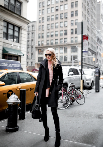 krystal schlegel blogger coat jeans shoes sunglasses pink sweater winter outfits black coat ankle boots handbag