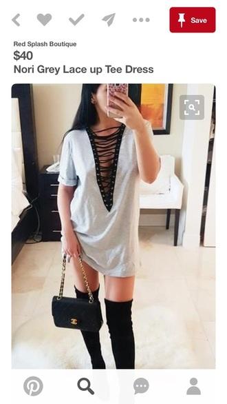 dress t-shirt dress sexy v-neck dress
