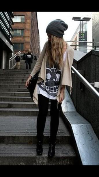 shirt skull sweater cardigan jeans
