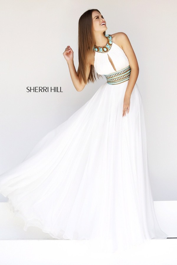 dress prom dress white dress white prom ball gown dress ball gown dress sherri hill sherri hill white dress from sherri hill long ball dress long prom dress prom nice dress long blue gold white and gold dress blue jewels green jewels homecoming dress