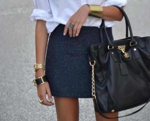 bag gold black chain cool