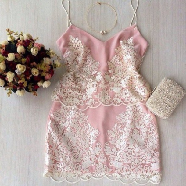dress rose white cute