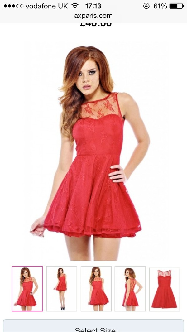 dress red axparis lace