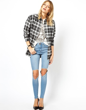 ASOS | ASOS Ridley High Waist Ultra Skinny Jeans in Watercolour Blue with Busted Knees su ASOS