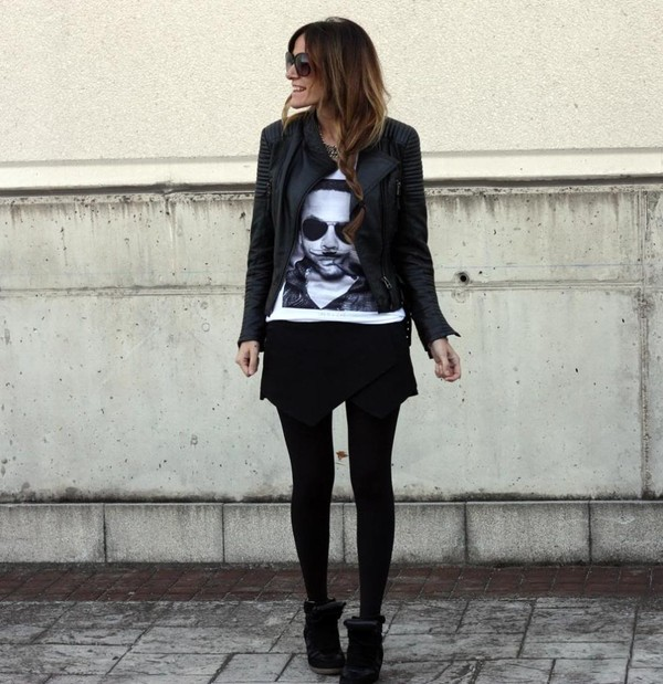 rebel attitude t-shirt skirt jacket shoes jewels