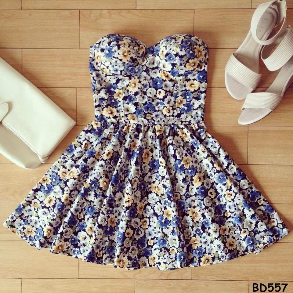 Sissy Floral Multi Color Bustier Dress with Adjustable Straps Size XS s M   eBay