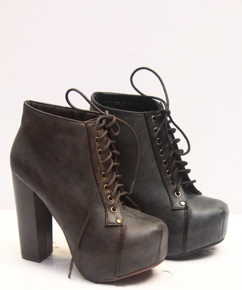 Fashion Chunky Heel Black Brwon Lace Up Platform Bootie Women's Shoes 5 5 10 New | eBay