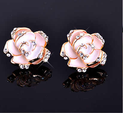 [grhmf2300015]Elegant Diamond Rose Earrings on Luulla