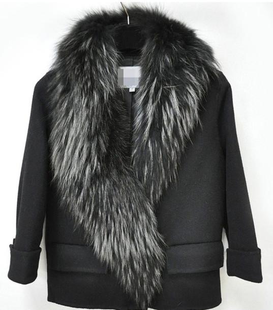 coat black fur collar