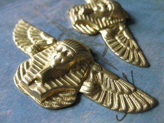 2 PC LARGE Raw Brass Art Deco Egyptian Revival by mermaidsdowry