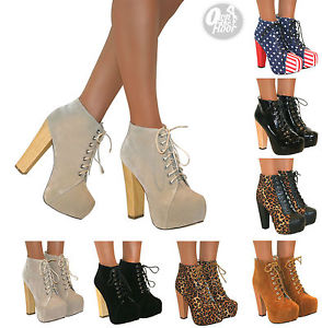 WOMENS ANKLE BOOTS WOODEN BLOCK HIGH HEEL PLATFORM SHOES LACE UP SIZE BOOTIES | eBay