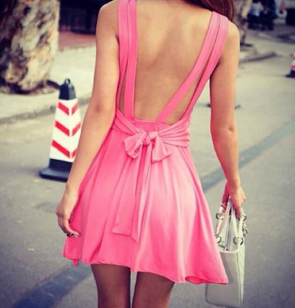 dress pink dress open back dresses