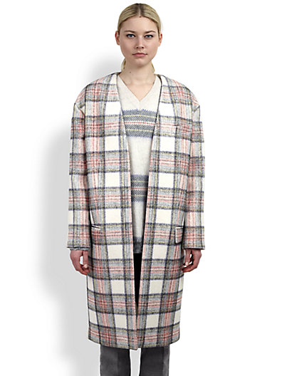 Stella McCartney - Collarless Plaid Coat - Saks.com