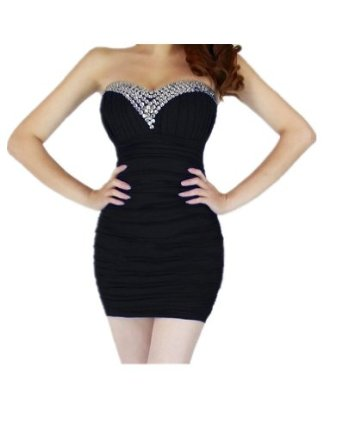 Amazon.com: Yazilind Women's Bling Rhinestone Beaded Short Prom Tunic Gown Strapless Cocktail Clubwear Party Evening Dress - black: Clothing