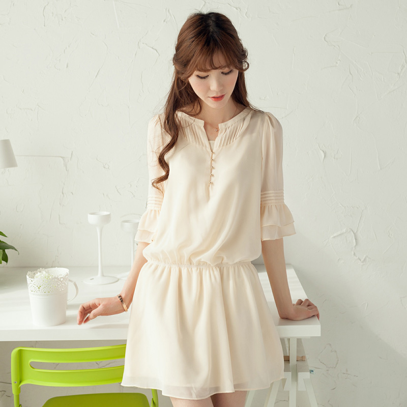 New 2014 Spring Summer Elegant Womens Three Quarter Sleeve Loose Short Casual Chiffon Shirt Dresses Beige Color Plus Sizes-inDresses from Apparel & Accessories on Aliexpress.com