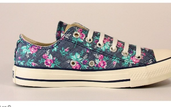 shoes converse all star flowers vintage