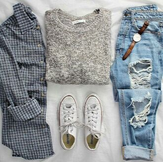 sweater jeans boyfriend jeans cardigan pants denim blue ripped hole holes fray frayed fraying urban cute cool tumblr teenagers girl 90s style grunge vintage retro summer spring fall outfits winter outfits style fashion dress azerbaycan ripped jeans grey sweater flannel shirt converse outfit