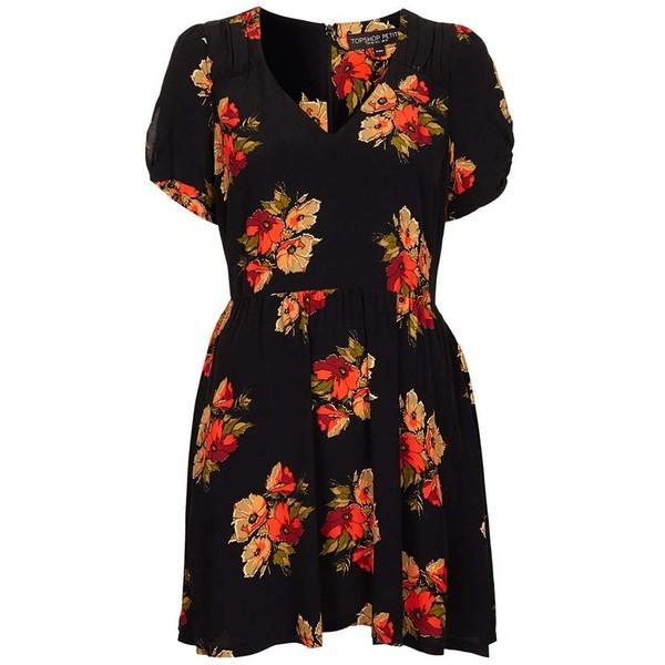 Topshop 'Autumn Floral' Tea Dress (Petite) - Polyvore