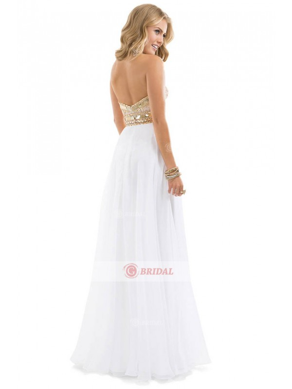 A-Line Sweetheart Backless Natural Chiffon Sleeveless Prom Dresses