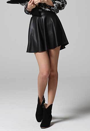 BLACK LEATHER look FLARED SKIRT women ladies girl matt mini a line pleated short - Dresses