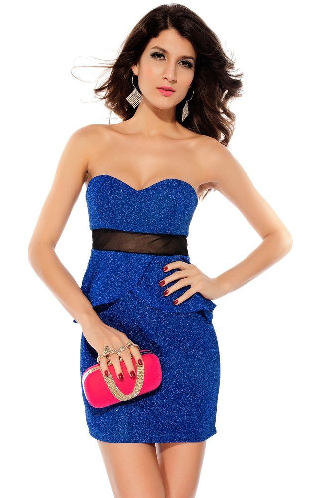 Fashion Mesh Waisted Glitter Peplum Dress Casual Party Bandeau Top Sexy Clubwear   eBay