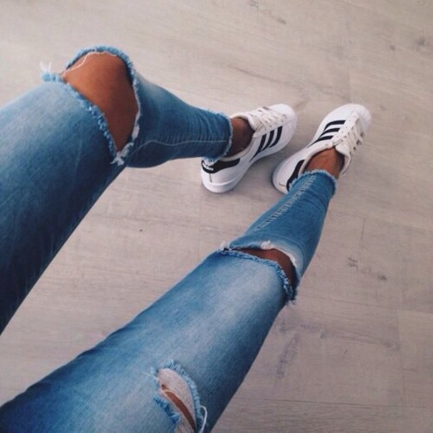 Jeans: blue denim love adidas bottom i need these jeans
