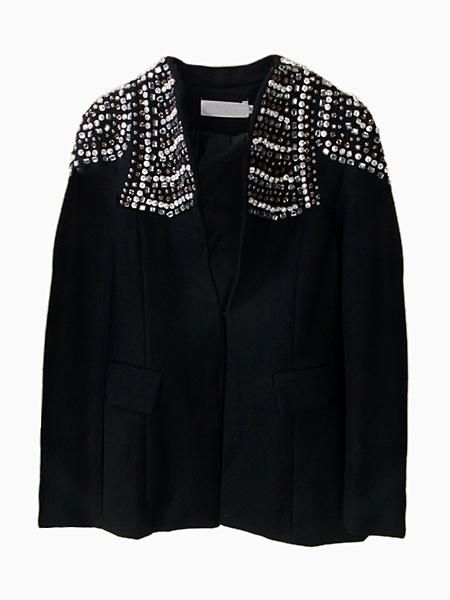 Textured Blazer Coat With Beaded Shoulder Detail | Choies